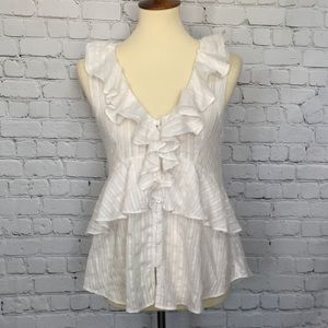 HOLDING HORSES - ANTHROPOLOGIE BUTTON RUFFLED TOP